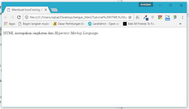membuat huruf miringi di html