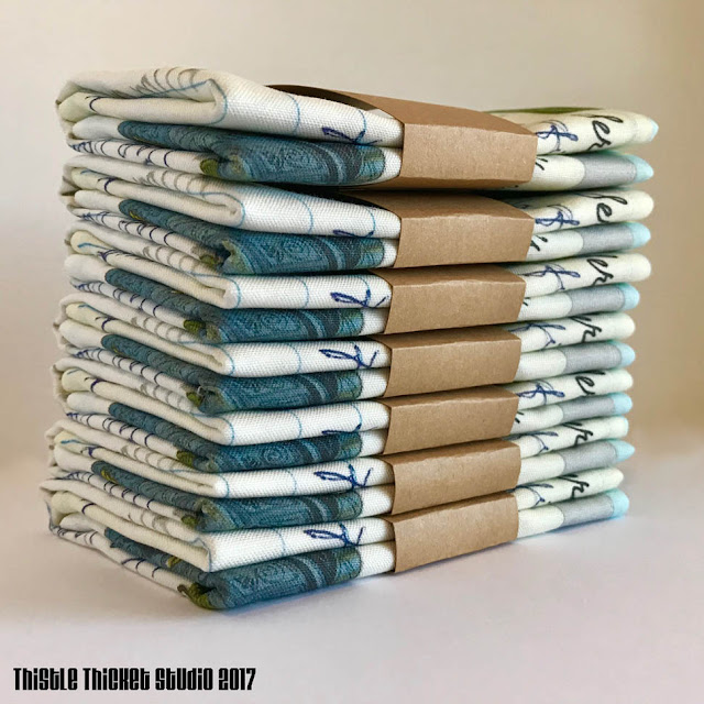 Stack of Custom Recipe Tea Towels by Thistle Thicket Studio. www.thistlethicketstudio.com