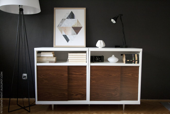 Mid century modern cabinet in dark wall living room hack from Ikea Besta shelf unit with astorp lamp stand