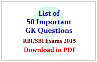 List of 50 Important GK Questions in PDF