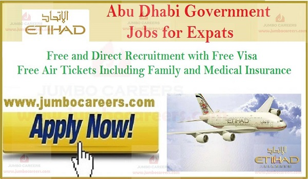 latest jobs in Etihad Airways, Free visa air ticket jobs in Abu Dhabi,