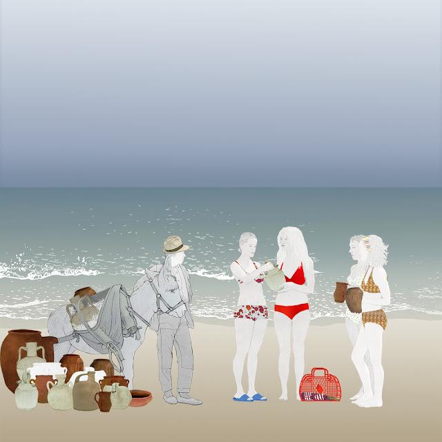 dibujo , playa , burro, ceramica, turistas , souvenir