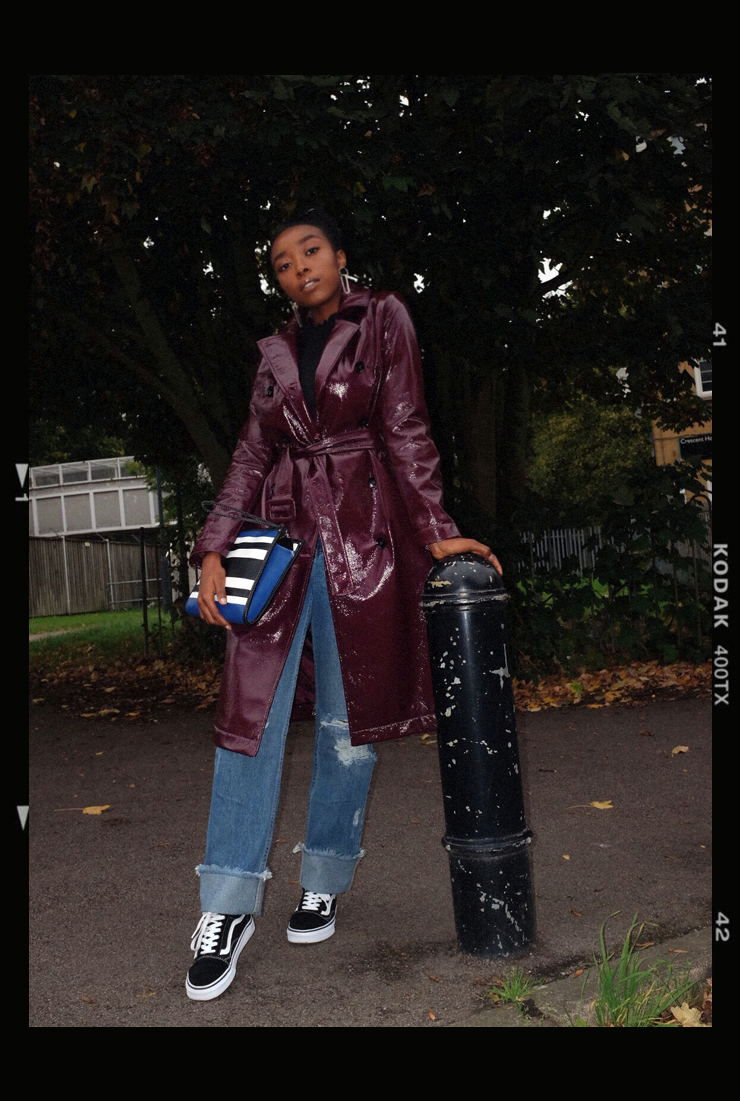 Burgundy topshop vinyl trench coat, mango black blue white clutch bag, mango retro black sunglasses, missguided ripped boyfriend jeans, black white vans old skool sneakers trainers
