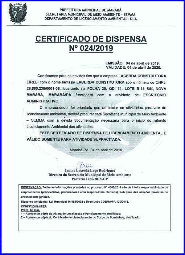 CERTIFICADO DE DISPENSA - LACERDA CONSTRUTORA - MARABÁ/PA