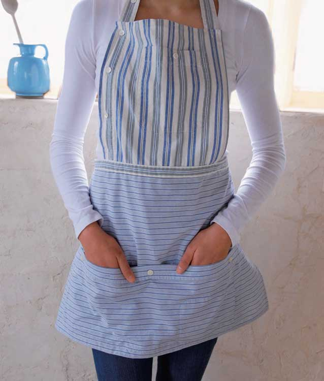 Button-Down Apron Made from Recycled Shirts