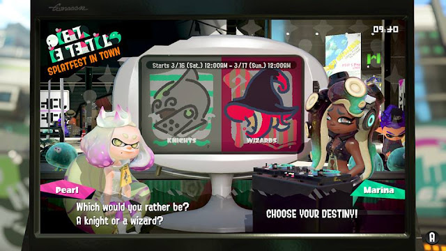 Splatoon 2 Splatfest Off the Hook news announcement knight vs. wizard