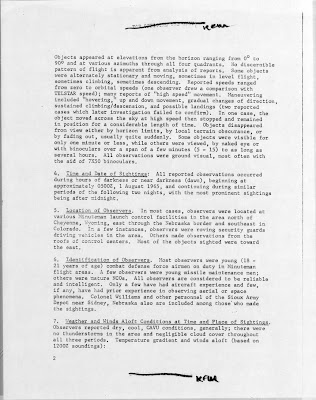 UFO Report at  Missile Sites, F E Warren AFB Wyoming (B) August 1965