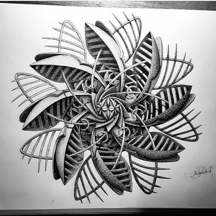 13-in-my-mind-art-Complex-Geometric-shapes-in-Ink-Stippling-Drawings-www-designstack-co
