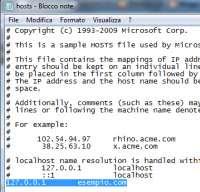 Modificare file hosts