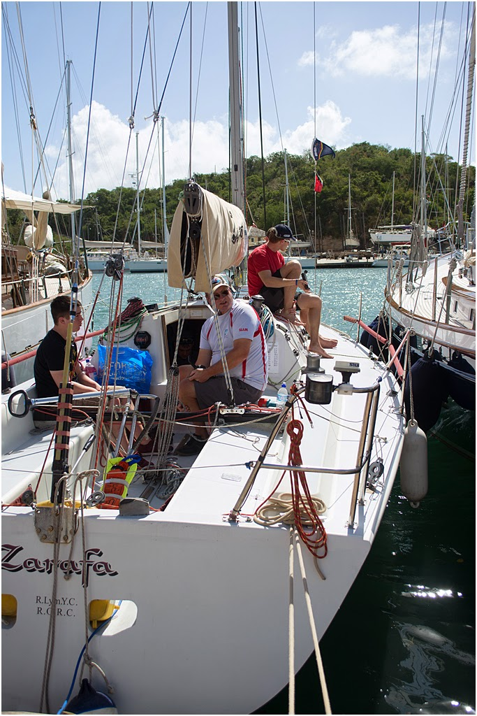 The crew on Zarafa in English harbour