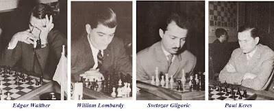 Los ajedrecistas Edgar Walther, William Lombardy, Svetozar Gligoric y Paul Keres