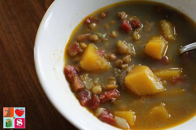 Slow Cooker Lentil Butternut Squash Curry Soup