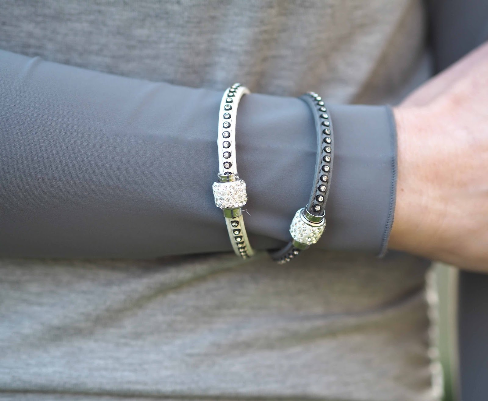Grey and white sparkly crystal wrap bracelets