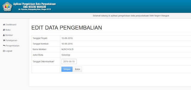 Halaman Edit Pengembalian Buku (Backend)