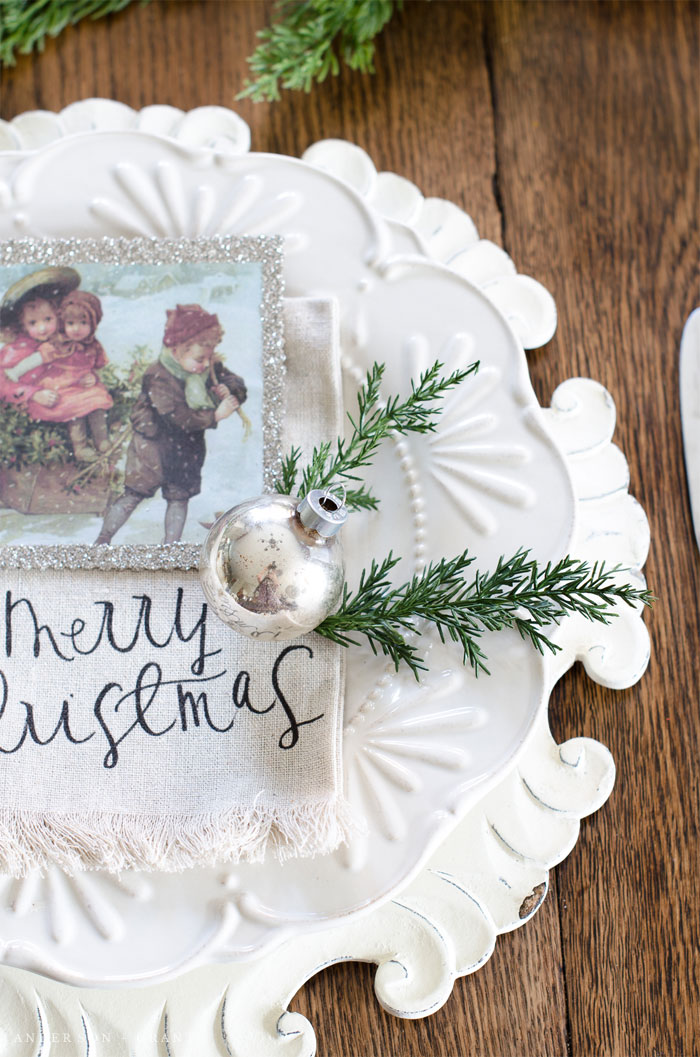 A farmhouse style table decorated for Christmas.  |  www.andersonandgrant.com