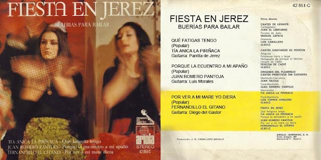 """FERNANDILLO DE MORÓN, DIEGO DEL GASTOR """"FIESTA EN JEREZ – BULERÍAS PARA BAILAR - ARIOLA 1971 EP"""