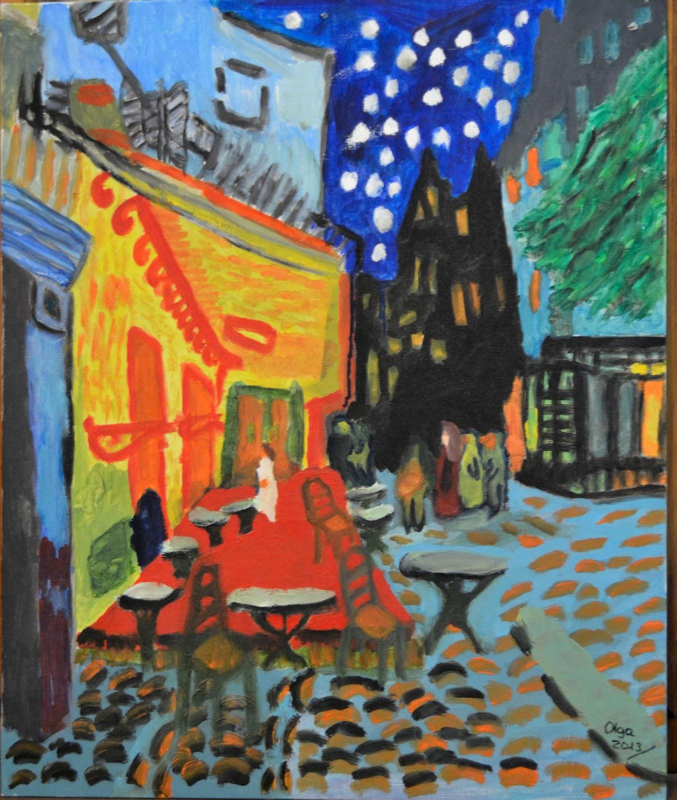 Olga Tellado Ilustración Terraza De Café Por La Noche