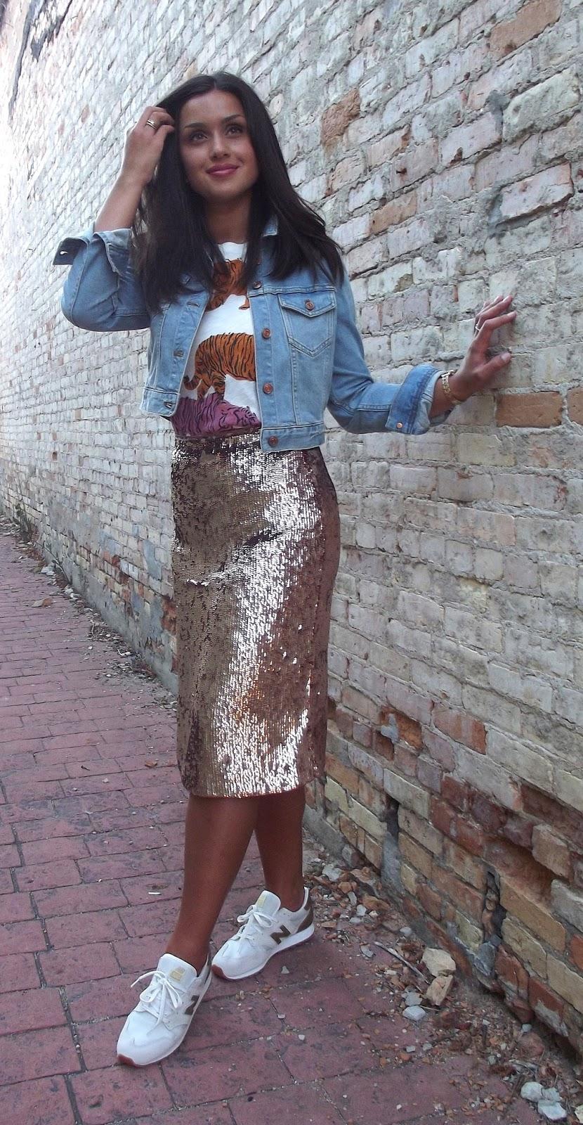 Sequin gold skirt with denim shirt