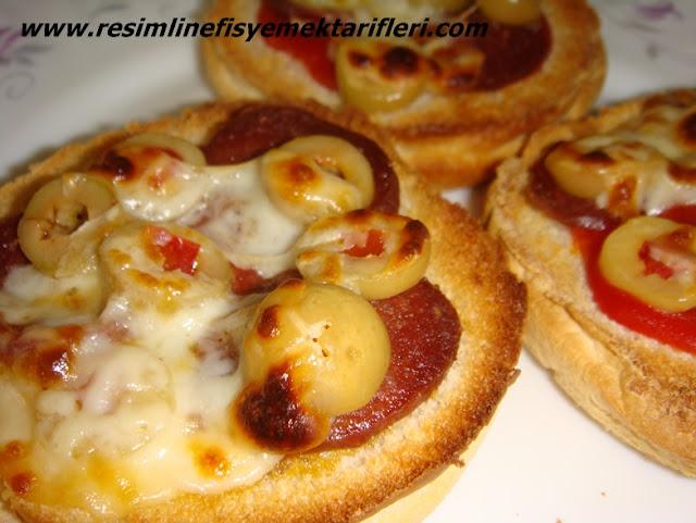 hamburger ekmeğinden pizza nasıl yapılır