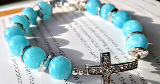Blue Quartz with a Crystal Cross Bracelet, 'Eternal Happiness'