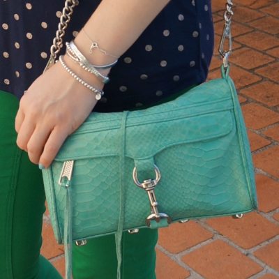 green and navy tee with Rebecca Minkoff mini MAC in aquamarine with python embossed leather | awayfromtheblue