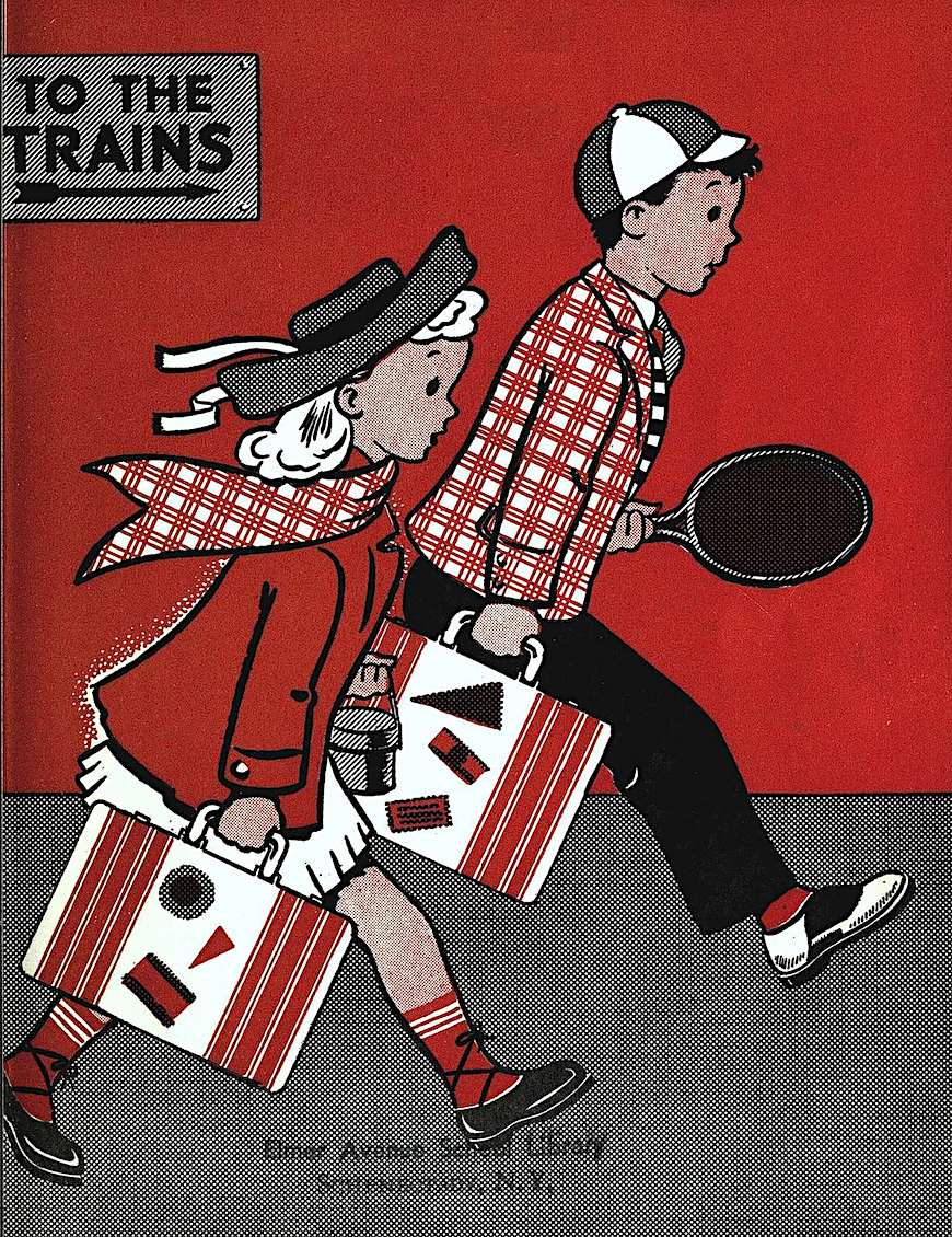 A 1940s children's book illustration, two color