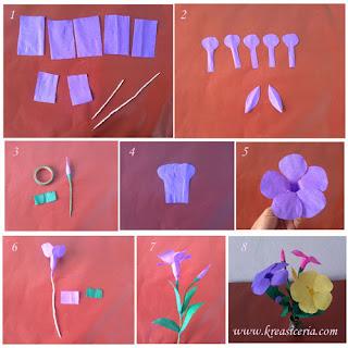 Tutorial dan cara membuat bunga alamanda dari kertas krep