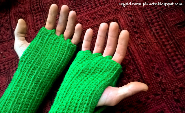 szydełkowe rękawice bez palców