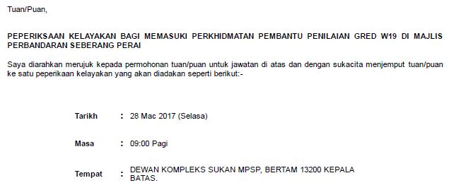 Exam Kelayakan Pembantu Penilaian MPSP  2017