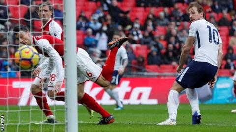 "Tottenham Hotspur beats Arsenal to go third on the table thanks to an early controversial second-half goal from Harry Kane - taking is goal tally to 23 in 26 appearances. #FORM    Arsenal appeared inferior and their defense needs communication to know exactly who's on who as Harry Kane kept poaching the Gunners' four-man defense the whole time. Great performance from Mousa Dembélé.    Mauricio Pochettino's men are third in the English Premier League table until Chelsea and Liverpool play their respective matches.   Arsenal blow another chance to go up in the table in a bid to secure first four finish to book a place in the UEFA Champions League next season.  EXPLOSIVE: NAZI U.S REPUBLICAN CANDIDATE MAKES SHOCKING ""SEGREGATE"" COMMENT DURING AN APPEARANCE ON CNN   The game remained 1-0 at full-time. Many argued the referee, Anthony Taylor should have canceled the goal as Kane appeared to give Arsenal defender, Laurent Koscielny a slight pushed before limping high to convert Ben Davies' cross.    #WENGEROUT is flooding the internet as the fans have never hidden they are fed up with the French man.  #TOTARS    DSCUS"