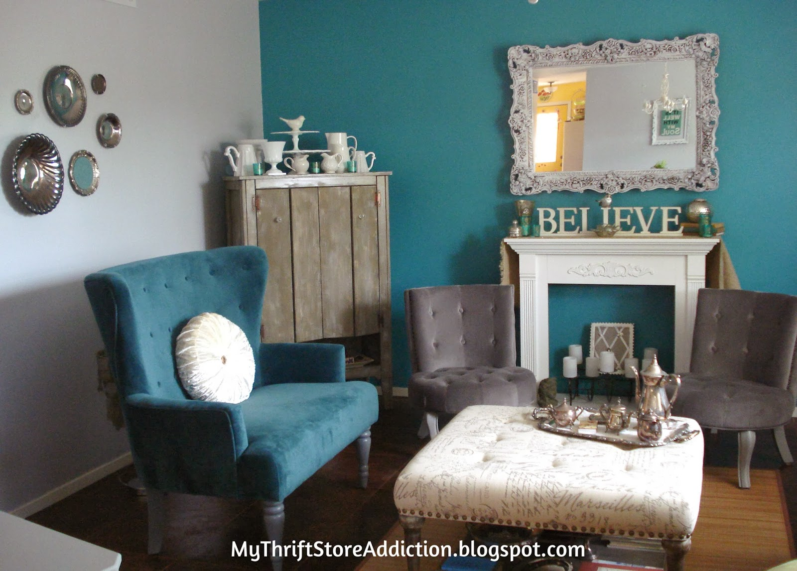 gray and turquoise living room ideas with tv in the corner my thrift store addiction refresh your home