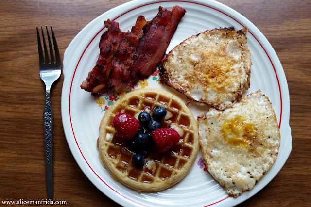 waffles, bacon, fried eggs, berries, brunch, breakfast