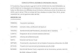 CONVOCATORIA A ASAMBLEA-19 DE MARZO 2019