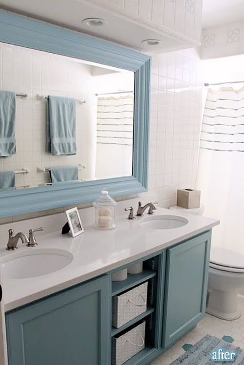 Blue Bathroom With White Mirror: Home On Hidden Oaks: Guest Bathroom Reveal