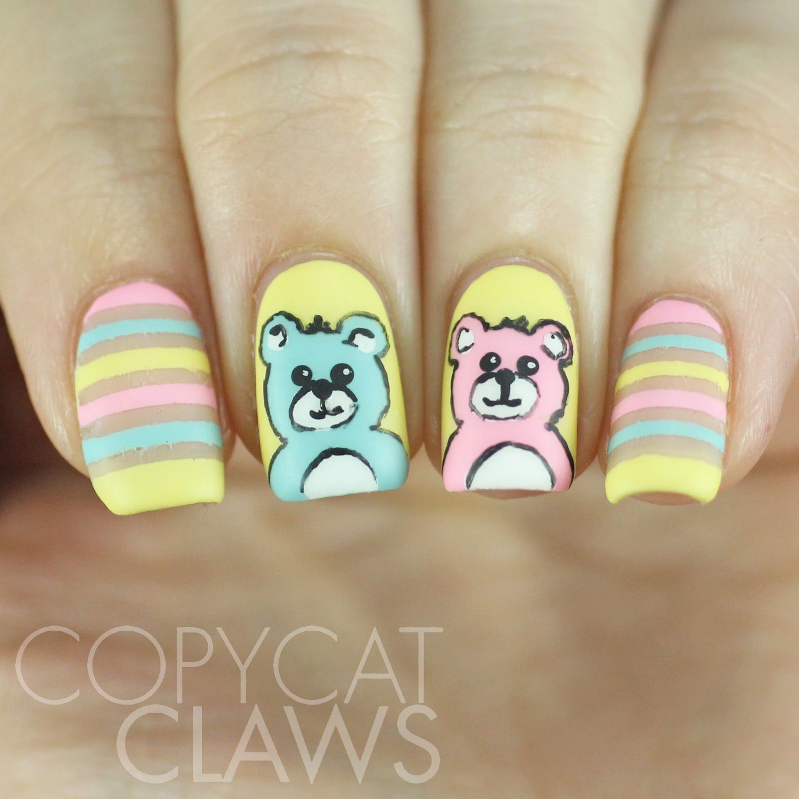 Bear Nail Art: Copycat Claws: The Digit-al Dozen Does Childhood: Day 2