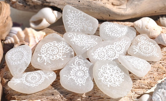 white on white painted rocks - rock painting idea from etsy