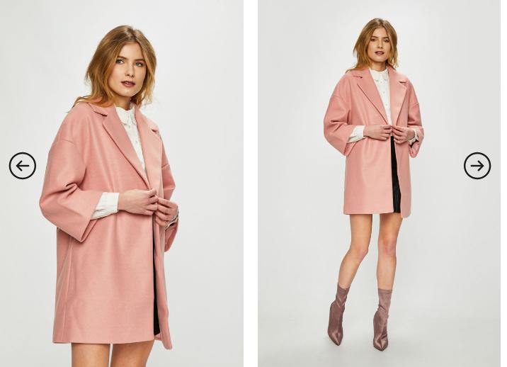 Vila - Palton roz scurt de iarna ideal pentru orice ocazie