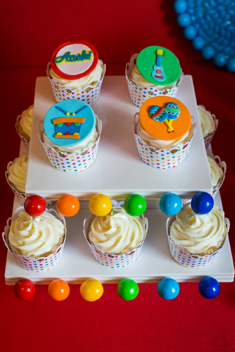 Baby Jam: A Music Inspired 1st Birthday Party Cupcakes - via BirdsParty.com
