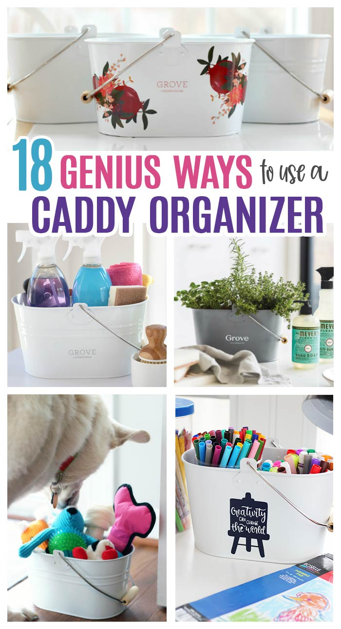 Get organized with this super cute caddy organizer and get a FREE Mrs. Meyer's cleaning set too! LOVE this deal from Grove Collaborative and this caddy is perfect for so many things: art caddy, desk caddy, pet toy organizer, cleaning caddy, herb garden, diaper caddy and so much more. #organize #declutter #home #diy #organizedhome