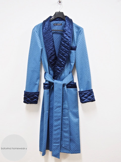 Men's blue silk dressing gown quilted long robe