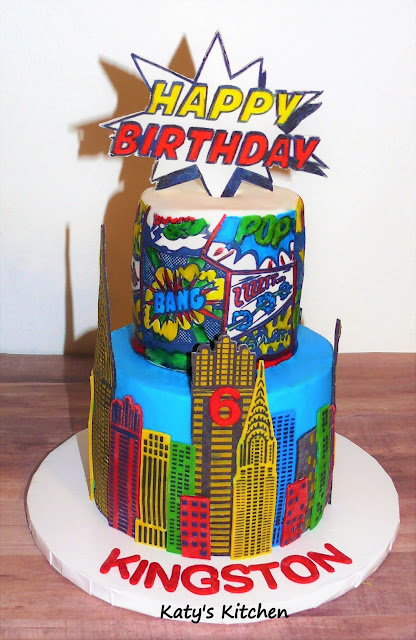 Pleasant Katys Kitchen Superhero Birthday Cake Personalised Birthday Cards Veneteletsinfo