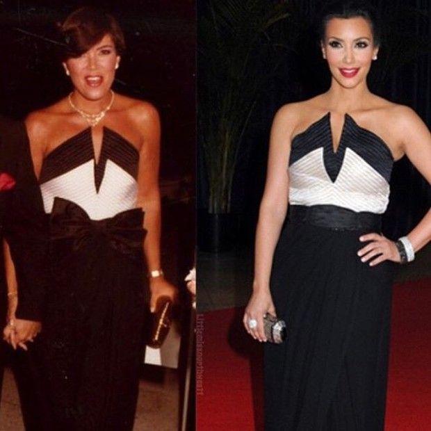 Kris Jenner com mesmo vestido usado pela filha Kim Kardashian