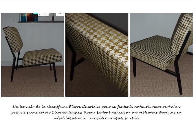 fauteuil vintage Guariche jaune vert