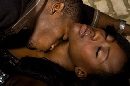 African couple making love
