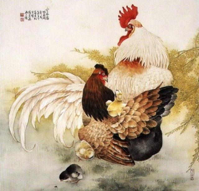 петух и курица с цыплятами