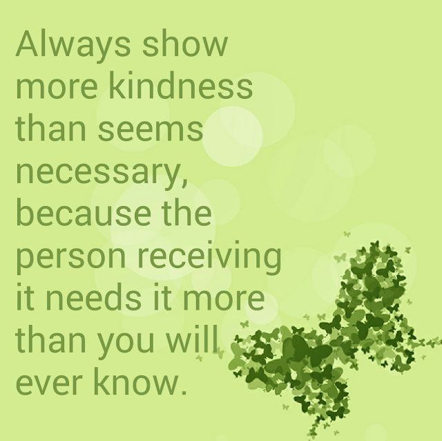 Always show more kindness than seems necessary, because the person receiving it needs it more than you will ever know.