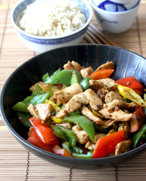 Miso Chicken with Bell Pepper with Japanese Seven Spice recipe by SeasonWithSpice.com
