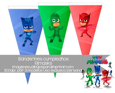 Pj Masks Banderines de cumpleaños para imprimir