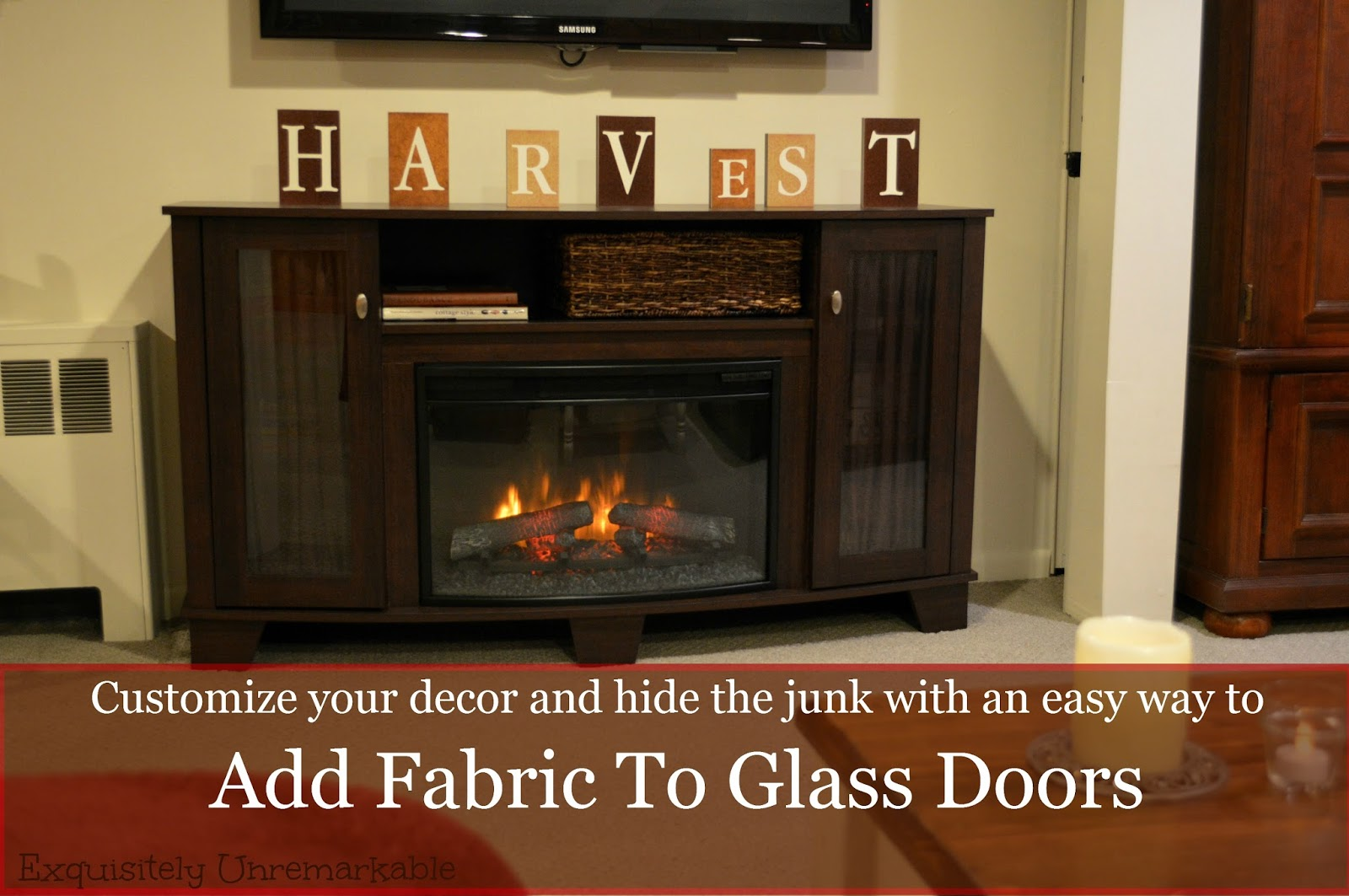 Add fabric to tv console glass doors