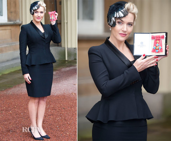 Kate Winslet awarded CBE by The Queen at Buckingham Palace. Kate Winslet in Alexander McQueen at Investiture Ceremony